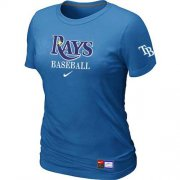 Wholesale Cheap Women's Tampa Bay Rays Nike Short Sleeve Practice MLB T-Shirt Indigo Blue