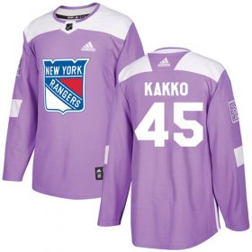 Wholesale Cheap Adidas Rangers #45 Kappo Kakko Purple Authentic Fights Cancer Stitched Youth NHL Jersey