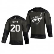 Wholesale Cheap Minnesota Wild #20 Ryan Suter Adidas 2019 Veterans Day Men's Authentic Practice NHL Jersey Camo