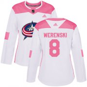 Wholesale Cheap Adidas Blue Jackets #8 Zach Werenski White/Pink Authentic Fashion Women's Stitched NHL Jersey