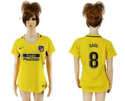 Wholesale Cheap Women's Atletico Madrid #8 Saul Away Soccer Club Jersey