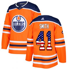 Wholesale Cheap Adidas Oilers #41 Mike Smith Orange Home Authentic USA Flag Stitched Youth NHL Jersey