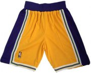 Wholesale Cheap Men's Los Angeles Lakers Yellow Hardwood Classics Soul Swingman Throwback Shorts