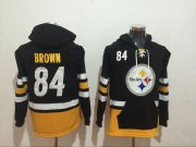 Wholesale Cheap Men's Pittsburgh Steelers #84 Antonio Brown NEW Black Pocket Stitched NFL Pullover Hoodie