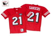 Wholesale Cheap Mitchell And Ness 75TH 49ers #21 Deion Sanders Red Stitched Throwback NFL Jersey