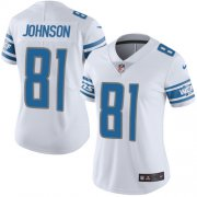 Wholesale Cheap Nike Lions #81 Calvin Johnson White Women's Stitched NFL Vapor Untouchable Limited Jersey