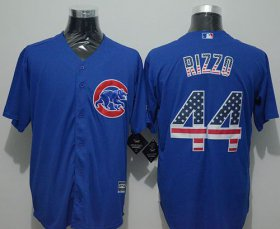 Wholesale Cheap Cubs #44 Anthony Rizzo Blue USA Flag Fashion Stitched MLB Jersey