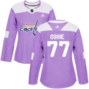 Wholesale Cheap Adidas Capitals #77 T.J. Oshie Purple Authentic Fights Cancer Women's Stitched NHL Jersey