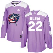 Wholesale Cheap Adidas Blue Jackets #22 Sonny Milano Purple Authentic Fights Cancer Stitched Youth NHL Jersey