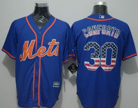 Wholesale Cheap Mets #30 Michael Conforto Blue USA Flag Fashion Stitched MLB Jersey