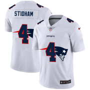 Wholesale Cheap New England Patriots #4 Jarrett Stidham White Men's Nike Team Logo Dual Overlap Limited NFL Jersey