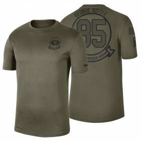 Wholesale Cheap San Francisco 49ers #85 George Kittle Olive 2019 Salute To Service Sideline NFL T-Shirt