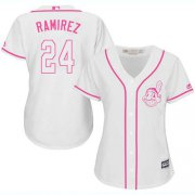 Wholesale Cheap Indians #24 Manny Ramirez White/Pink Fashion Women's Stitched MLB Jersey