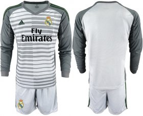 Wholesale Cheap Real Madrid Blank Grey Goalkeeper Long Sleeves Soccer Club Jersey