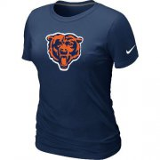 Wholesale Cheap Women's Chicago Bears Team Logo T-Shirt Dark Blue