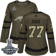 Wholesale Cheap Adidas Capitals #77 T.J Oshie Green Salute to Service Stanley Cup Final Champions Women's Stitched NHL Jersey