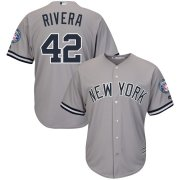 Wholesale Cheap New York Yankees #42 Mariano Rivera Majestic 2019 Hall of Fame Patch Cool Base Player Jersey Gray