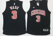 Wholesale Cheap Men's Chicago Bulls #3 Dwyane Wade All Black With Red Stitched NBA Adidas Revolution 30 Swingman Jersey