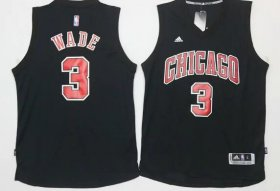 Wholesale Cheap Men\'s Chicago Bulls #3 Dwyane Wade All Black With Red Stitched NBA Adidas Revolution 30 Swingman Jersey
