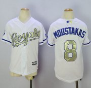 Wholesale Royals #8 Mike Moustakas White 2015 World Series Champions Gold Program Cool Base Stitched Youth Baseball Jersey