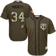 Wholesale Twins #34 Kirby Puckett Green Salute to Service Stitched Youth Baseball Jersey