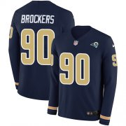 Wholesale Cheap Nike Rams #90 Michael Brockers Navy Blue Team Color Men's Stitched NFL Limited Therma Long Sleeve Jersey