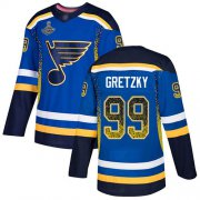 Wholesale Cheap Adidas Blues #99 Wayne Gretzky Blue Home Authentic Drift Fashion Stanley Cup Champions Stitched NHL Jersey