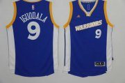 Wholesale Cheap Men's Golden State Warriors #9 Andre Iguodala Blue Retro Stitched NBA 2016 adidas Revolution 30 Swingman Jersey