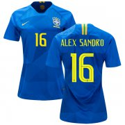 Wholesale Cheap Women's Brazil #16 Alex Sandro Away Soccer Country Jersey