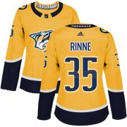 Wholesale Cheap Adidas Predators #35 Pekka Rinne Yellow Home Authentic Women's Stitched NHL Jersey