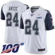 Wholesale Cheap Nike Cowboys #24 Chidobe Awuzie White Men's Stitched With Established In 1960 Patch NFL Limited Rush 100th Season Jersey
