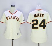 Wholesale Cheap Giants #24 Willie Mays Cream Home Women's Stitched MLB Jersey