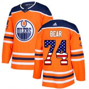 Wholesale Cheap Adidas Oilers #74 Ethan Bear Orange Home Authentic USA Flag Stitched NHL Jersey