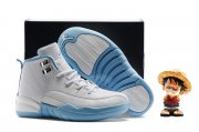 Wholesale Cheap Kids' Air Jordan 12 Shoes North Carolina Blue/white