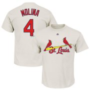 Wholesale Cheap St. Louis Cardinals #4 Yadier Molina Majestic Official Name and Number T-Shirt White