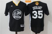 Wholesale Cheap Men's Golden State Warriors #35 Kevin Durant Black Short-Sleeved Revolution 30 Swingman 2017 The NBA Finals Patch Jersey