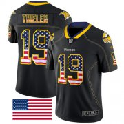 Wholesale Cheap Nike Vikings #19 Adam Thielen Black Men's Stitched NFL Limited Rush USA Flag Jersey