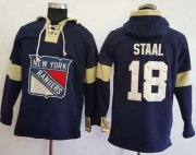 Wholesale Cheap Rangers #18 Marc Staal Navy Blue Pullover Hoodie Stitched NHL Jersey