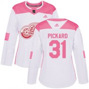 Wholesale Cheap Adidas Red Wings #31 Calvin Pickard White/Pink Authentic Fashion Women's Stitched NHL Jersey