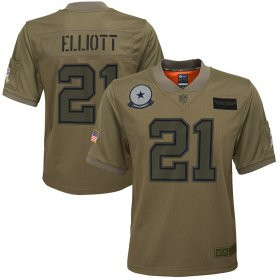 Wholesale Cheap Youth Dallas Cowboys #21 Ezekiel Elliott Nike Camo 2019 Salute to Service Game Jersey