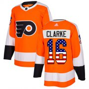 Wholesale Cheap Adidas Flyers #16 Bobby Clarke Orange Home Authentic USA Flag Stitched Youth NHL Jersey