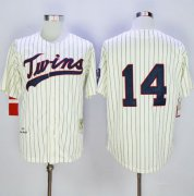 Wholesale Cheap Mitchell And Ness 1969 Twins #14 Kent Hrbek Cream Strip Throwback Stitched MLB Jersey