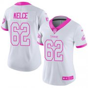 Wholesale Cheap Nike Eagles #62 Jason Kelce White/Pink Women's Stitched NFL Limited Rush Fashion Jersey