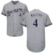 Wholesale Cheap Brewers #4 Paul Molitor Grey Flexbase Authentic Collection Stitched MLB Jersey