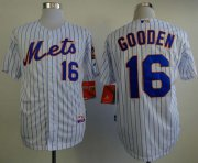 Wholesale Cheap Mets #16 Dwight Gooden White(Blue Strip) Home Cool Base Stitched MLB Jersey