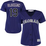 Wholesale Cheap Rockies #19 Charlie Blackmon Purple Alternate Women's Stitched MLB Jersey