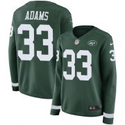 Wholesale Cheap Nike Jets #33 Jamal Adams Green Team Color Women's Stitched NFL Limited Therma Long Sleeve Jersey