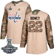 Wholesale Cheap Adidas Capitals #22 Madison Bowey Camo Authentic 2017 Veterans Day Stanley Cup Final Champions Stitched NHL Jersey