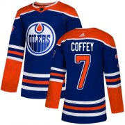 Wholesale Cheap Adidas Oilers #7 Paul Coffey Royal Blue Alternate Authentic Stitched NHL Jersey