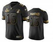 Wholesale Cheap Men's Kansas City Chiefs #15 Patrick Mahomes Black Super Bowl LIV Golden Edition Jersey